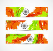 Indian flag colorful grunge wave set of three headers vector — Stock Vector