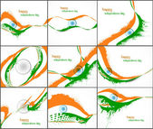Stylish tricolor indian hrunge flags collection colorful design — Stock Vector