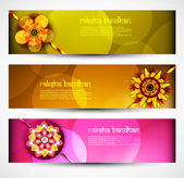 Raksha Bandhan celebration bright colorful three headers vector — Stock Vector