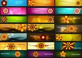 Raksha bandhan celebracja jasny kolorowy 21 nagłówki wektor des — Wektor stockowy
