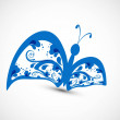 Artistic styles blue colorful butterfly tatto art vector illustr — Stock Vector