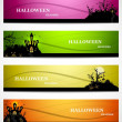 Abstract bright colorful headers set of six halloween design vec — Stock Vector #30321079