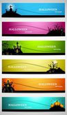 Abstract bright colorful headers set of six halloween design vec — Stock Vector