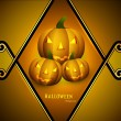 Halloween Scary yellow pumpkins card  background  vector — Stock Vector