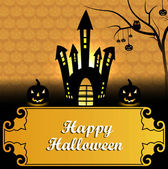 Happy Halloween greeting card orange colorful pumpkins party bac — Stock Vector