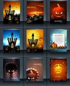 Halloween party 9 Brochure collection reflection presentation br — Stock Vector