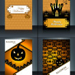 Vector illustration Happy Halloween four brochure collection des — Stock Vector