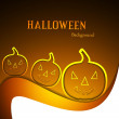 Stock Vector: Beautiful Halloween Scary pumpkins vector wave background