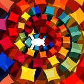 3d géométrique tourbillon coloré cercle fond vecteur — Vecteur
