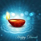 Beautiful happy diwali bright blue colorful hindu diya festival — Stock Vector