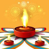 Joyeux diwali diya belle rangoli coloré festival hindou vect — Vecteur