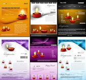 Deepawali diwali diya website template presentation collection — Stock Vector