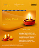 Deepawali diwali diya website template presentation bright color — Stock Vector