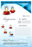 Fantastic Website Beautiful stylish happy diwali template blue c — Stock Vector