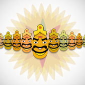 Dussehra for Ravan Indian festival with his ten heads vector ill — Stock Vector