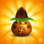 Diwali pooja Beautiful kalash bright colorful background vector — Stock Vector