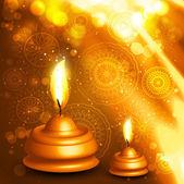 Illustration vectorielle de Diwali huile colorée lampe design — Vecteur