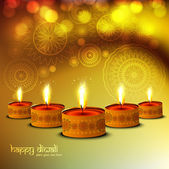 Happy Diwali Glittering bright colorful religious background — Vector de stock