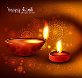 Beautiful religious colorful diwali festival with beautiful lamp — Vector de stock