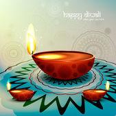 Festival de Diwali com bela diya rangoli colorido fundo — Vetor de Stock