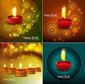 Happy diwali Beautiful four collection colorful rangoli diya fes — Stock Vector