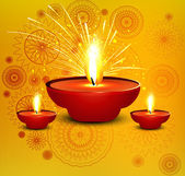 Religious diwali card beautiful diya design illustration — Stock vektor