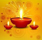 Religious diwali card beautiful diya design illustration — Stockvektor