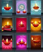 Belle collection 9 modèle coloré brochure design illust — Vecteur
