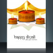 Diwali colorful celebrating oil lamp brochure template vector il — Stock Vector