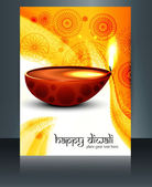 Diwali with beautiful lamps on artistic brochure template design — Stock Vector