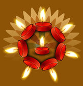 Beautiful Diwali colorful Oil Lamp vector design — Vector de stock