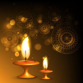 Beautiful illuminating oil lamp diwali background design illustr — Stock Vector