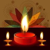 Diya Beautiful illuminating colorful diwali background vector — Stock Vector