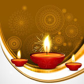 Abstract beautiful style diwali diya wave vector — 图库矢量图片