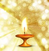 Illustration of decorated colorful Diwali diya background — Stockvector
