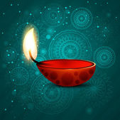 Beautiful diwali illuminating Diya for Hindu festival background — Stock Vector