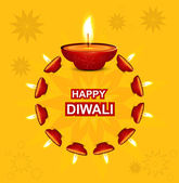 Diwali illuminating Diya for Hindu festival Beautiful design — Stock Vector