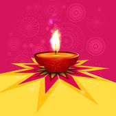 Beautiful rangoli diwali lamp colorful vector background — Vector de stock