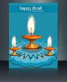 Шаблон синий красочные брошюры отражение карты красивые Дивали — Cтоковый вектор