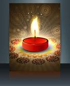 Beautiful diwali greeting card reflection colorful brochure temp — Stock Vector
