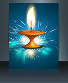 Diwali festival brochure template beautiful lamps background — Stock Vector