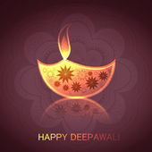 Diwali illuminating Diya reflection for Hindu festival colorful — Wektor stockowy