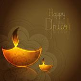 Hindu festival Diwali illuminating Diya colorful vector illustra — Stock Vector