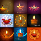 Happy diwali 9 collection bright colorful hindu festival design — Stock Vector