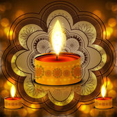 Diwali Lamp on Decorative bright colorful fantastic background — ストックベクタ