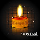 Beautiful reflection Diwali lamp bright colorful background — Stockvector
