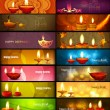 Stock Vector: Happy diwali stylish bright colorful collection headers set of v