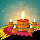 Beautiful rangoli creative diwali lamp background vector — Wektor stockowy