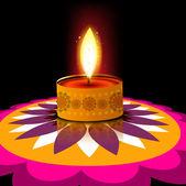 Beautiful card diwali rangoli diya reflection design — ストックベクタ