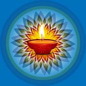 Beautiful card diwali rangoli blue bright colorful celebration b — ストックベクタ